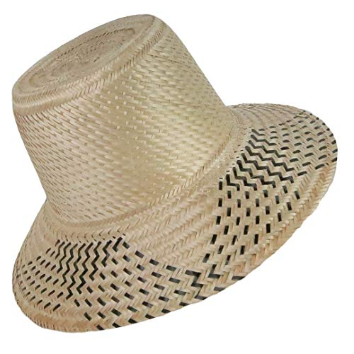 Across The Puddle, Wayuu Collection, Black Dashes Sun Straw Wayuu Hat with Flexible Chin Cord Windproof Strap Clip